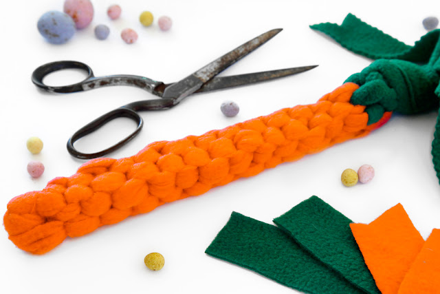 Homemade Easter dog tug toy shaped like a carrot