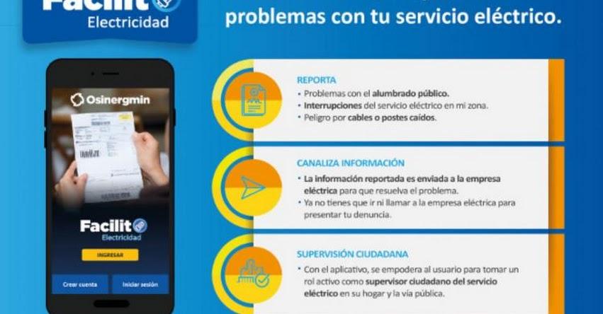 Con aplicativo Facilito se puede reportar fallas del servicio eléctrico - www.osinergmin.gob.pe