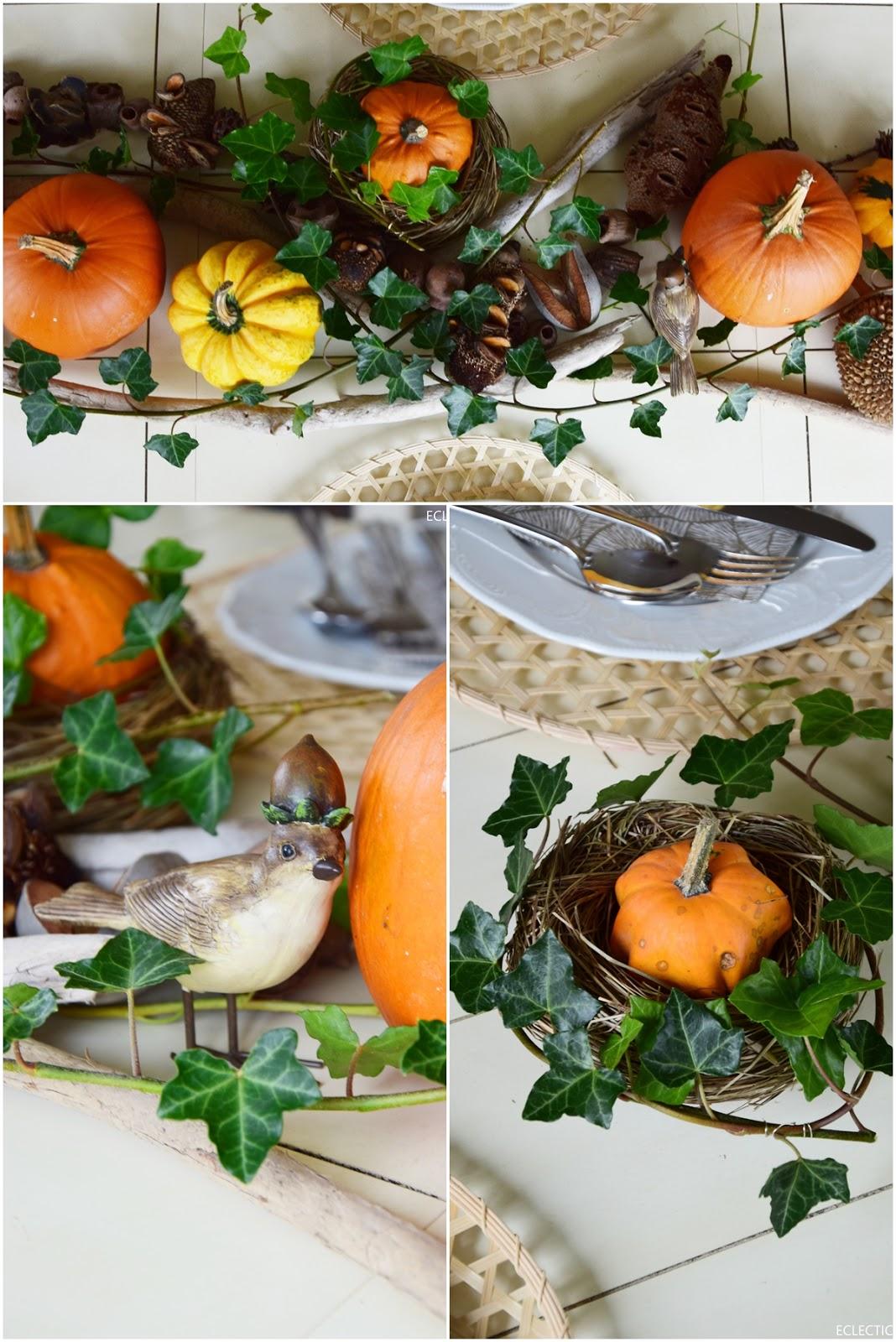 Tischdeko für den Herbst mit Kürbissen: herbstlich natürlich und schön! Efeu, Kürbisund Naturmaterialien