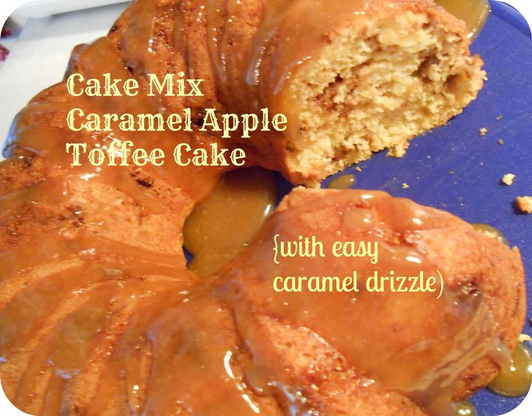 Caramel Apple Cake Made With Yellow Cake Mix