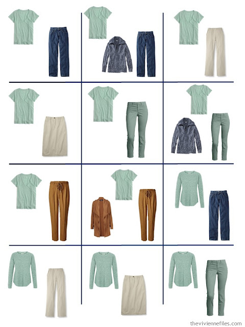 12 outfits from a 4 by 4 wardrobe with a denim and khaki core, and accents of green, blue and tobacco brown