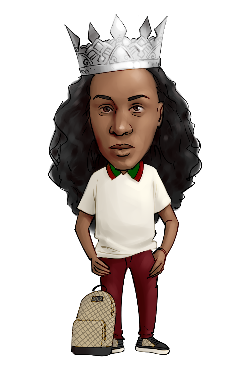 caricature from photo professional barber hair stylist in crown