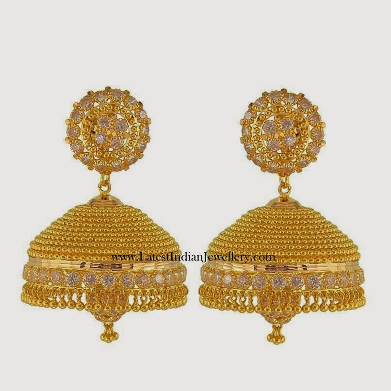 south indian gold jhumka earrings