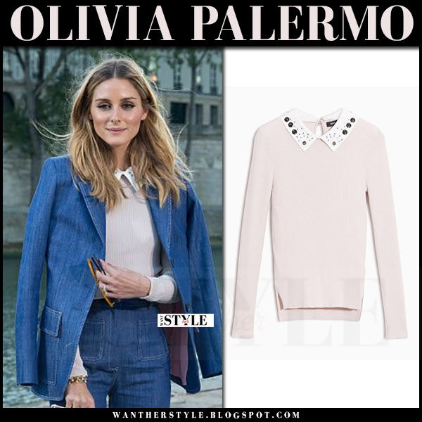 Olivia Palermo in denim paul and joe blazer, denim trousers and pink embellished collar sweater max and co what she wore paris fashion week