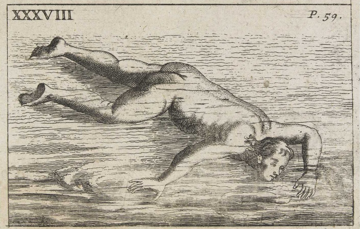 odd sketch of swimming style - 1700s
