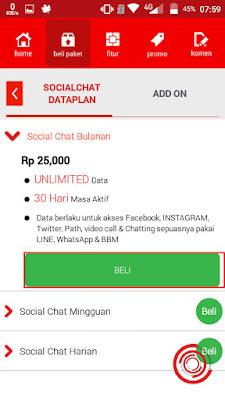 Saya contohkan Social Chat Bulanan seharga Rp. 25.000 lalu klik beli