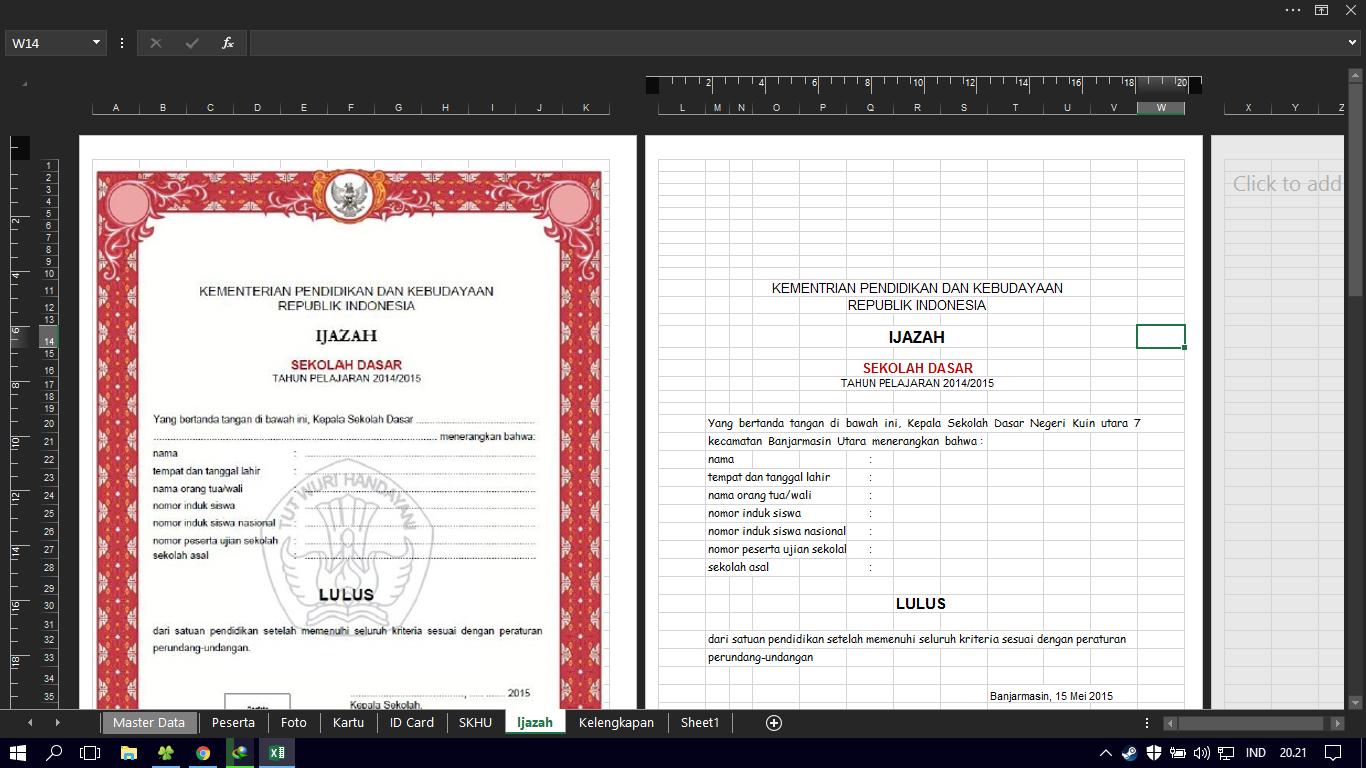 Aplikasi Lengkap Ujian Sekolah Cetak Kartu Peserta Ujian Pengawas Ujian Skhu Dan Ijazah Excel