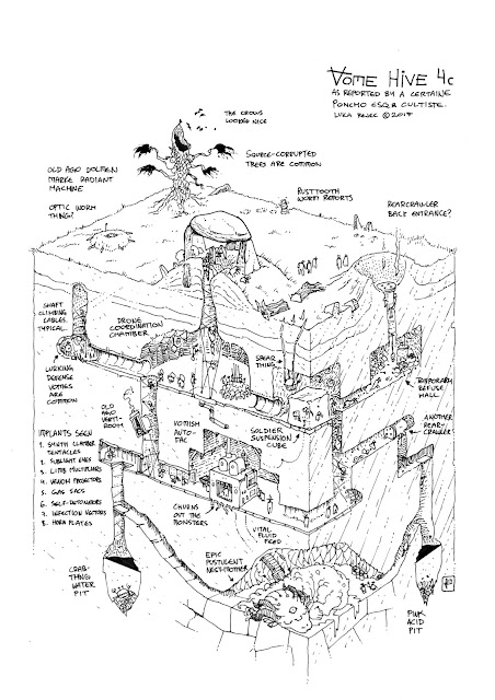 "A black and white cross-section image of a ""Vome Hive"" depicting characters, creatures, and environment with small text annotating details."