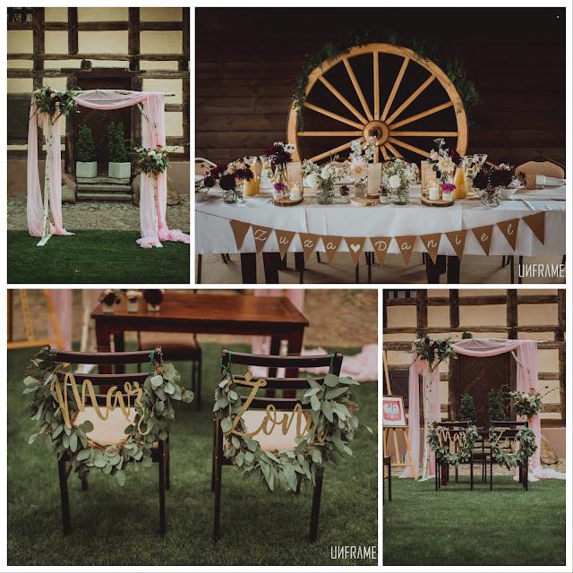 Ślub cywilny w plenerze z dekoracjami od paperplant. Zdjęcia unframe.