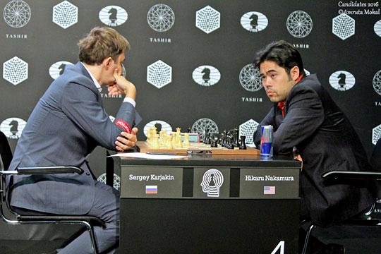 Victoire de Sergey Karjakin sur Hikaru Nakamura dans la ronde 2 - Photo © Amruta Mokal
