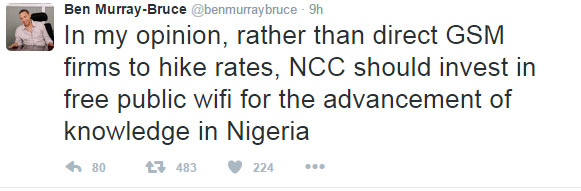 Ben Murray-Bruce reacts to increase in data prices by Federal Government