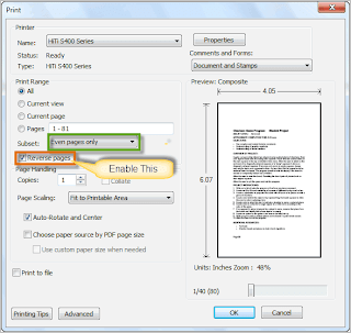 Step: -1 Settings for odd pages document-print both sides