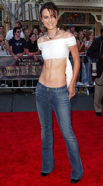 CELEBRITY STYLE TRANSFORMATION keira knightley at pirates of caribbean premier in jeans