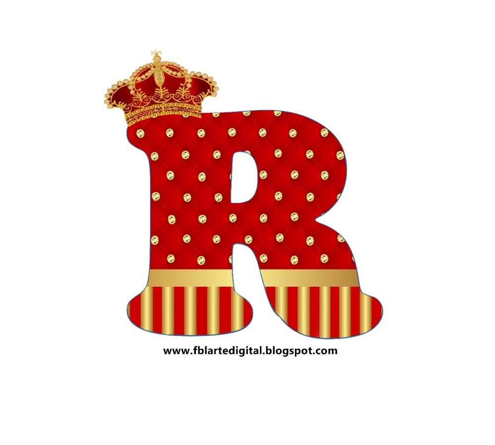 abecedario realeza con corona rojo y dorado  red and gold
