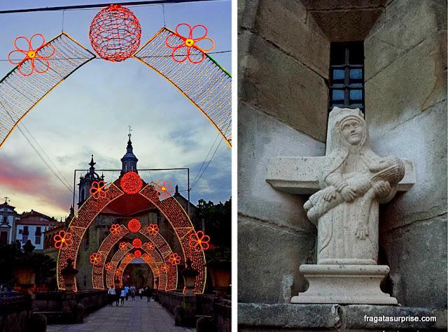 Ponte medieval de Amarante, Portugal e detalhe da Igreja de São Gonçalo