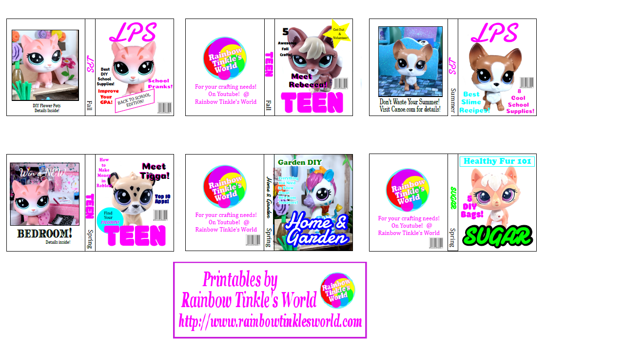 graphic relating to Diy Printables known as Rainbow Tinkles International: 6 Do-it-yourself LPS Printable Publications! Print