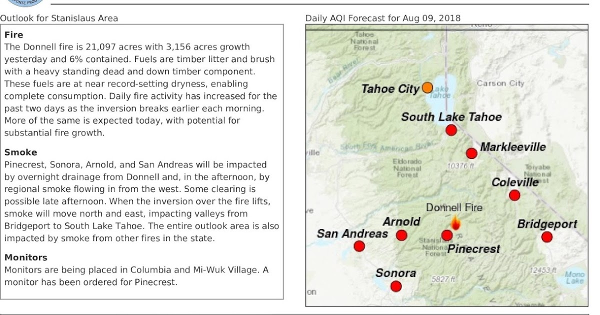 California Smoke Information Thursday August 9 Donnell Fire