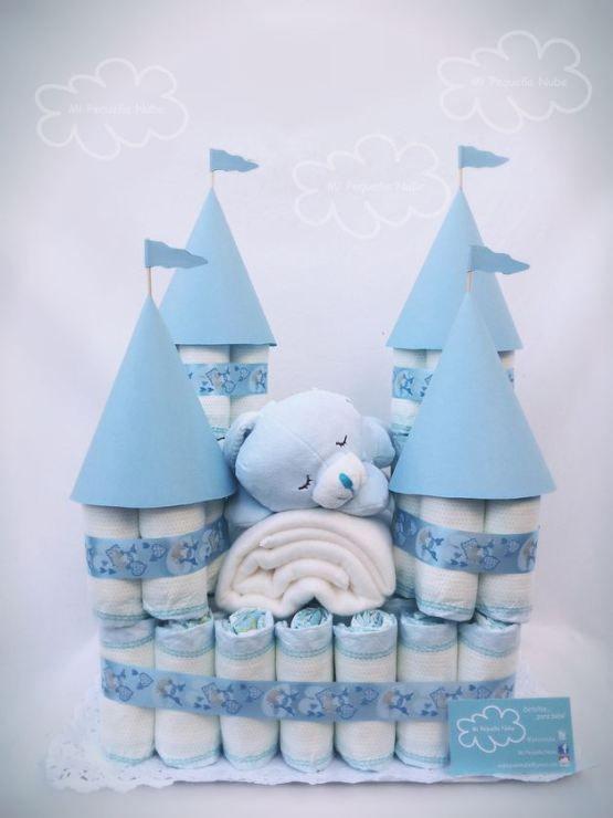 bolo de fralda azul, cha de fraldas simples, cha de bebe simples,bolo de fraldas simples, bolo de fralda meninos, bolo de fraldas menina, cha de bebê, decoração de chá de bebê, chá de fraldas,  bolo de fralda castelo,bolo de fralda de castelo