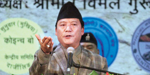 Bimal Gurung at Gorkha Rangamancha Bhavan on Sunday