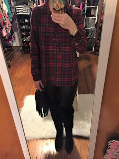 lace up red plaid ootd
