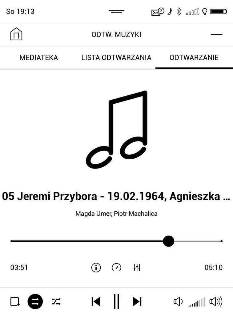 PocketBook Touch HD 3 – ekran odtwarzania w odtwarzaczu muzyki