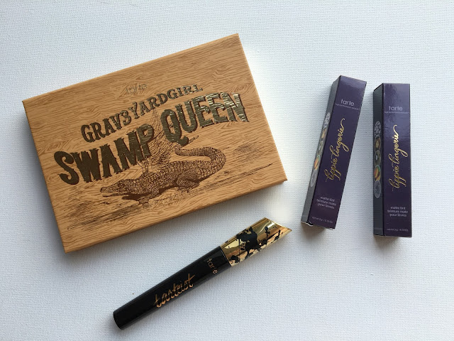 Swap Queen palette, Tarteist mascara and two lip tints on white background