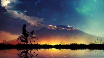 Sunset, Sky, Scenery, Riding, Bicycle, Silhouette, Digital Art, 4K, #6.1051