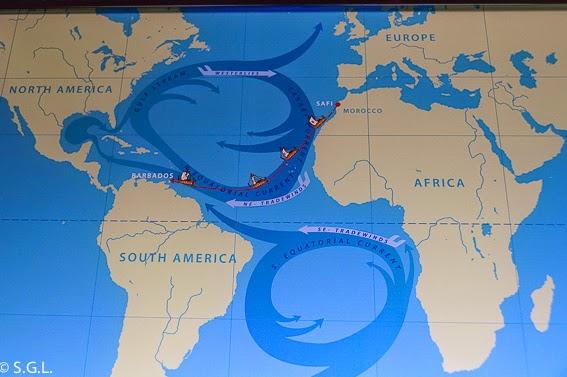 Trayecto de la expedicion Ra por el oceano Atlantico