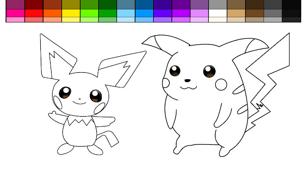 Learn Colors For Kids And Color Pokemon Pikachu And Pichu Coloring Pages
