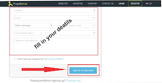 form to be fill before signing up in propeller ads