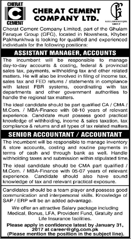 Cherat Cement Company Limited New Jobs