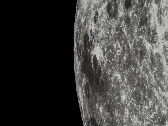 A closeup of Mare Marginis, a lunar sea that lies on the very edge of the lunar nearside