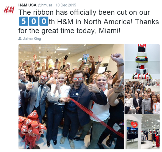 H&M celebrates 500th North American store opening - tweet