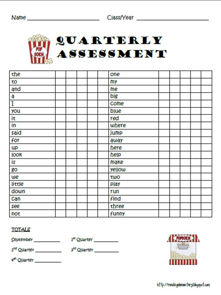 Reading Is Elementary: Sight Word Assessments