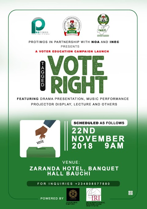 PRESS RELEASE: INTELLECTUAL BIG TEE in partnership with INEC & NOA presents VOTE RIGHT Campaign ahead of the 2019 General Elections.