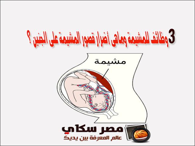 3 وظائف للمشيمة وماهى أضرار قصور المشيمة على الجنين ؟