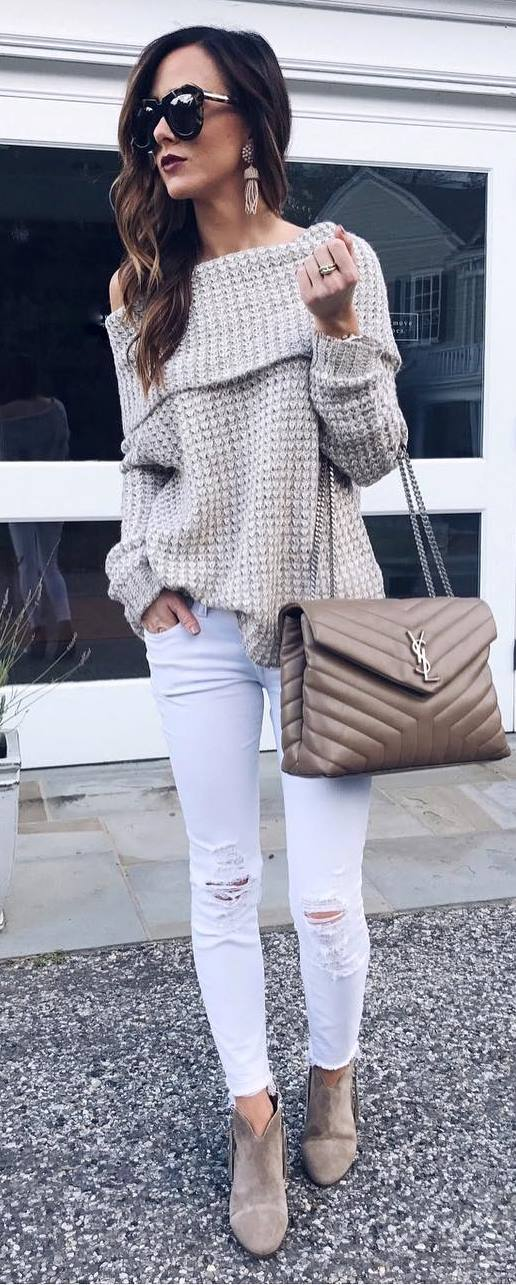 stylish look | off shoulder knit sweater + bag + rip + boots