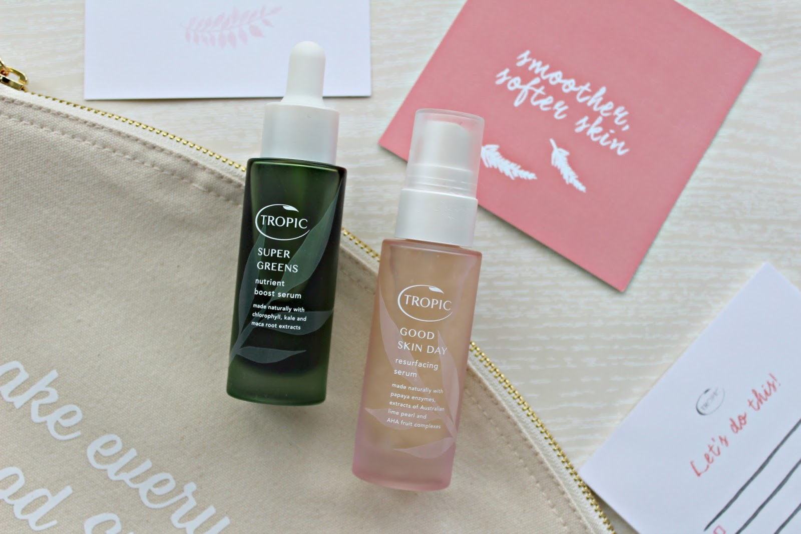 Tropic Skincare Supergreens and Good skin day serums review