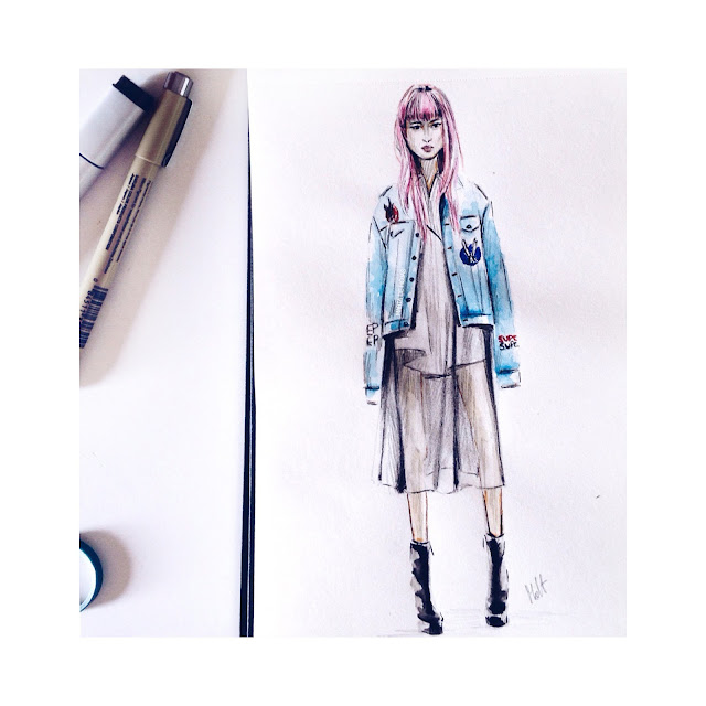 pink, hair, look, sketch, fashion