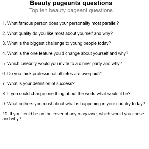Beauty Questions: Beauty Pageants Questions