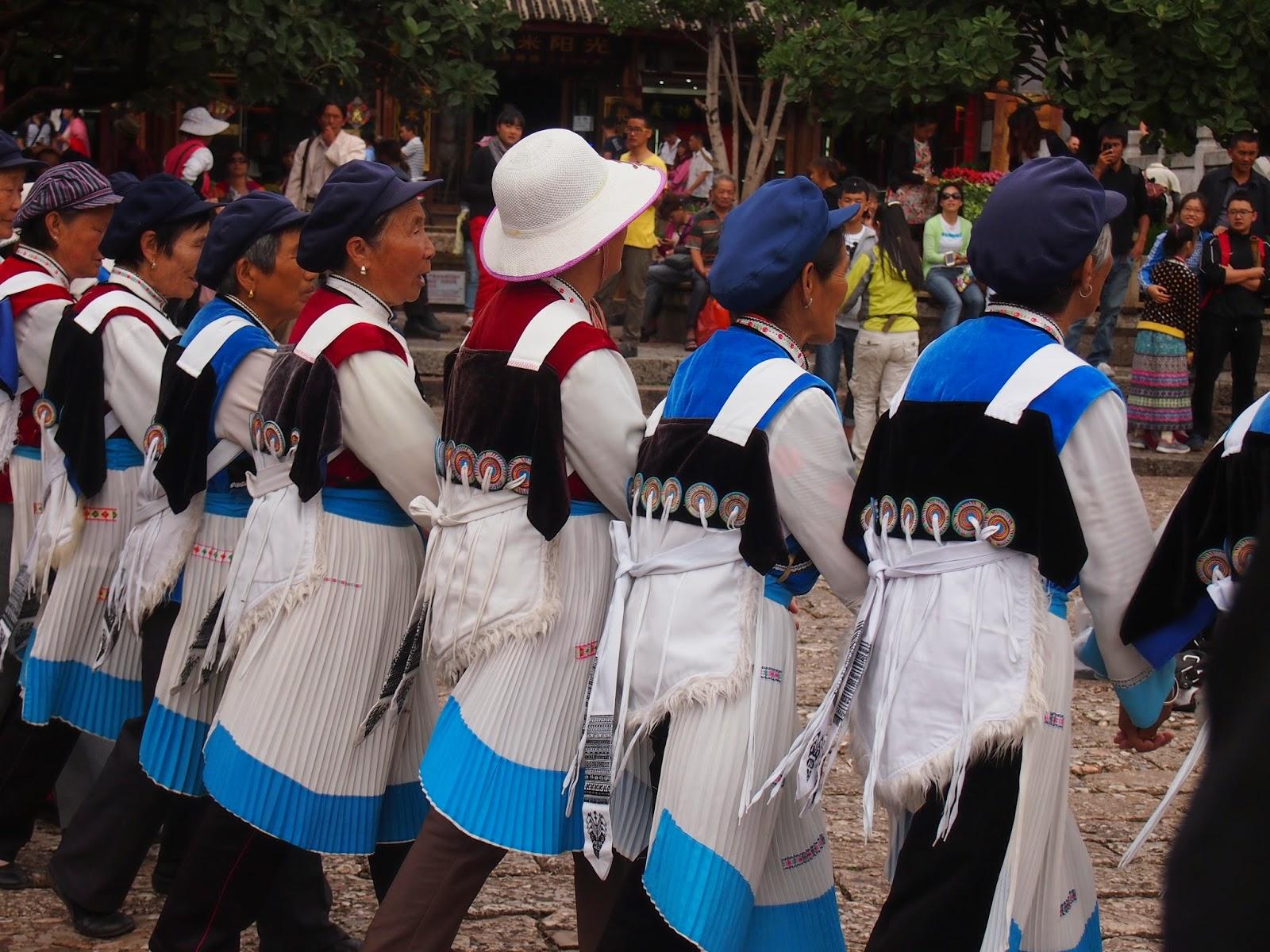 Naxi women dancing in Lijiang, China