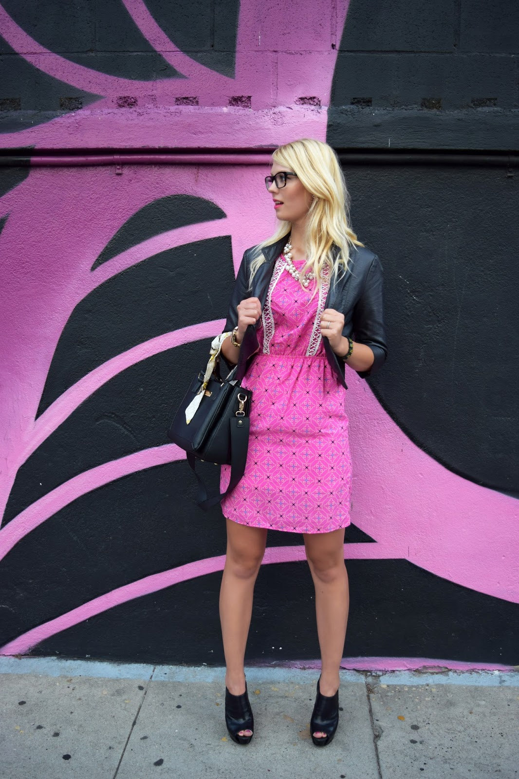 pink blush dress with leather jacket
