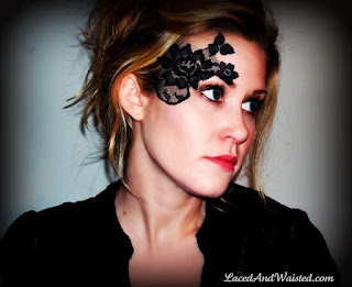 Steampunk makeup idea. Lace masks and tattoos by laced and waisted adhere to skin. Adhesive, strapless and unisex, easy lace face makeup tutorial for a Neo-Victorian Goth look