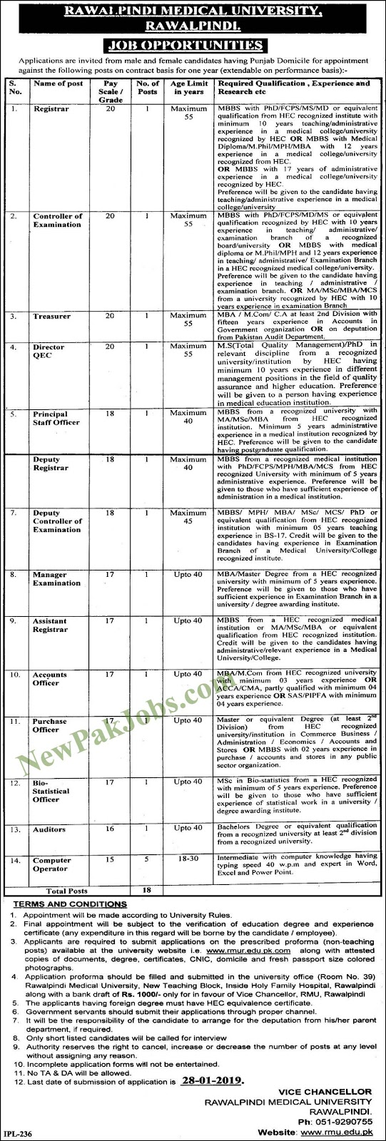 Rawalpindi Medical University Jobs 11 January 2019
