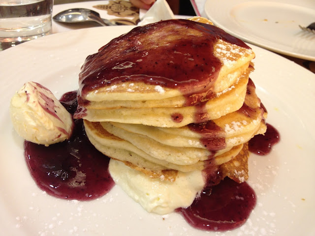 Blueberry and Cream Cheese Pancake Tower