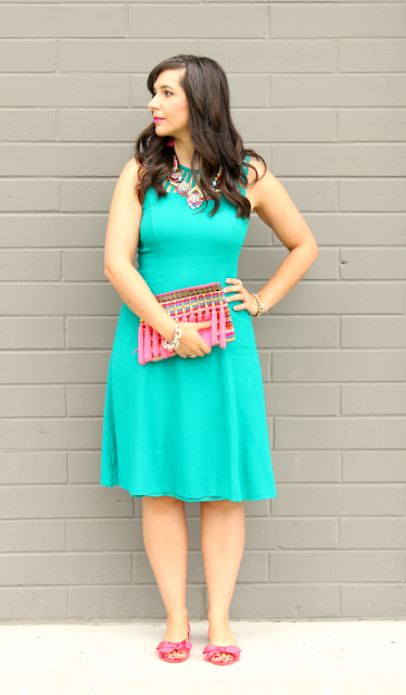 Turquoise Sheath Dress_Tassel Clutch_Pink Bow Shoes