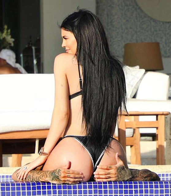 Kylie Jenner in Bikini with Tyga at a pool in Mexico