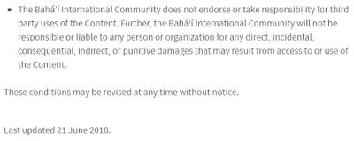 Фрагмент уведомления с сайта бахаи