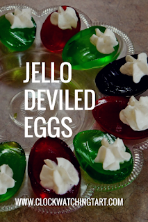 Jello Deviled Eggs for Easter at www.clockwatchingtart.com