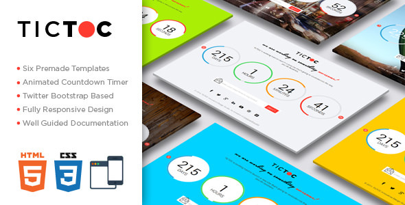 TICTOC V1 2 - COMING SOON COUNTDOWN TEMPLATE - Free Html Templates